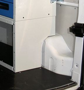 The wheel arch cabinet seen from the side