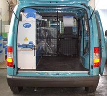 A Ford Connect with racking and equipment by Syncro
