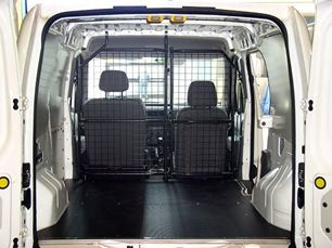 A Ford Connect with a floor liner, wall liners and bulkhead barrier