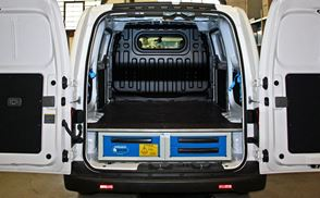 A Nissan NV200 fitted with an under-floor drawer system by Syncro System North America